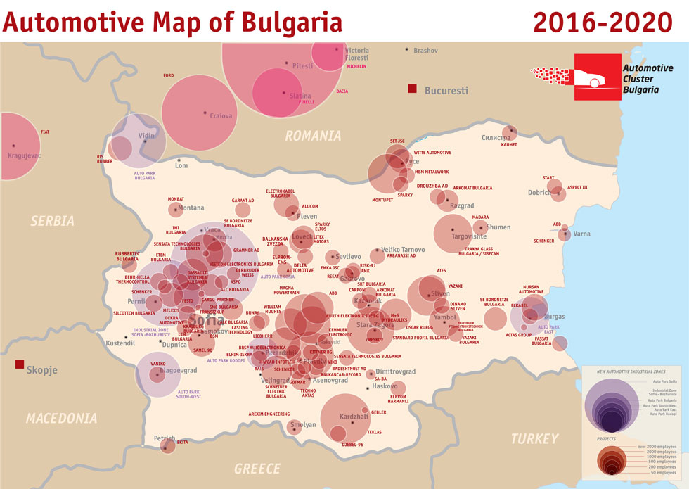 Outsourcing Bulgaria automotive map
